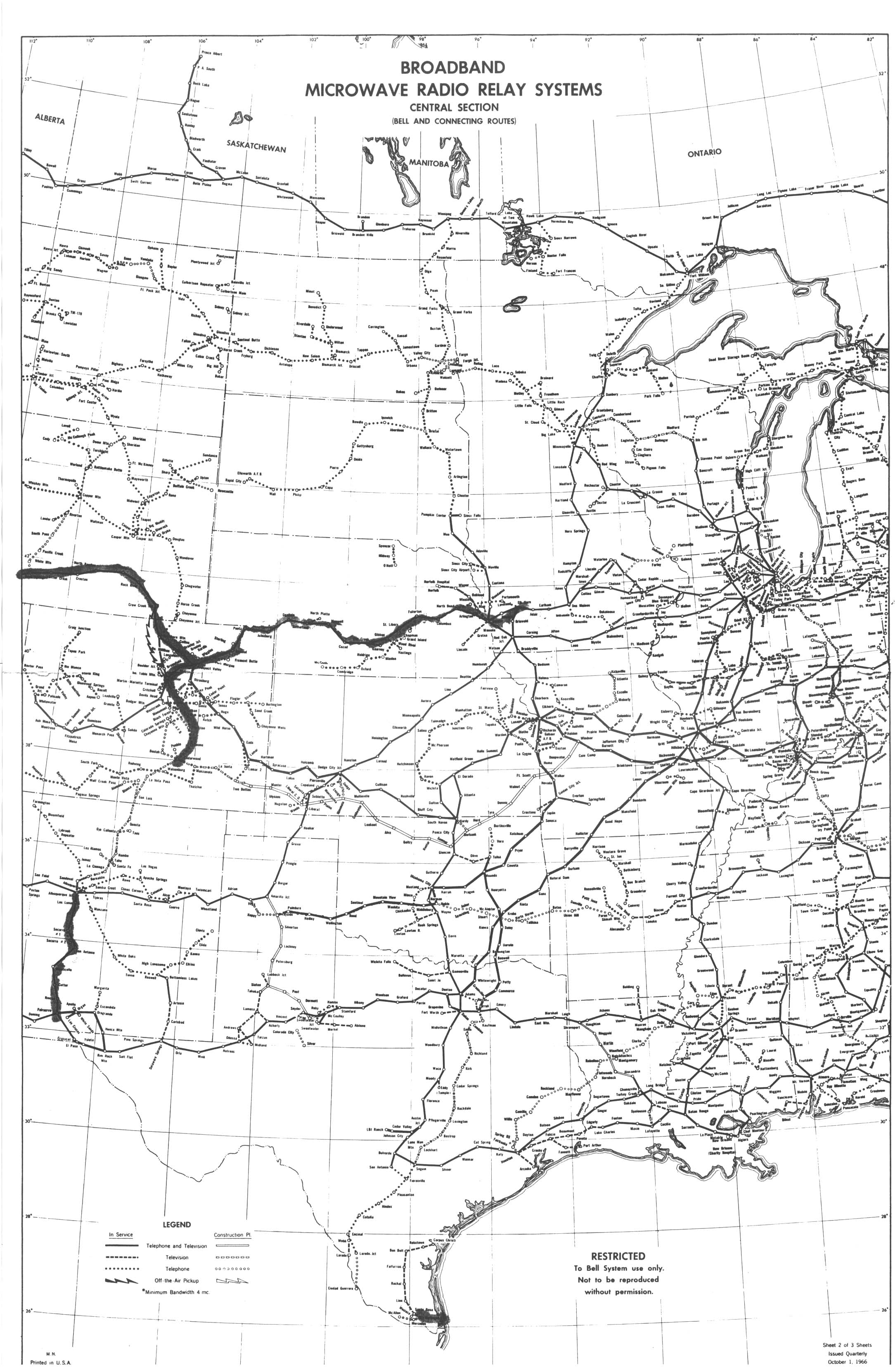 ATT Long Lines Information Sources Route Maps - Us map with connecting lines