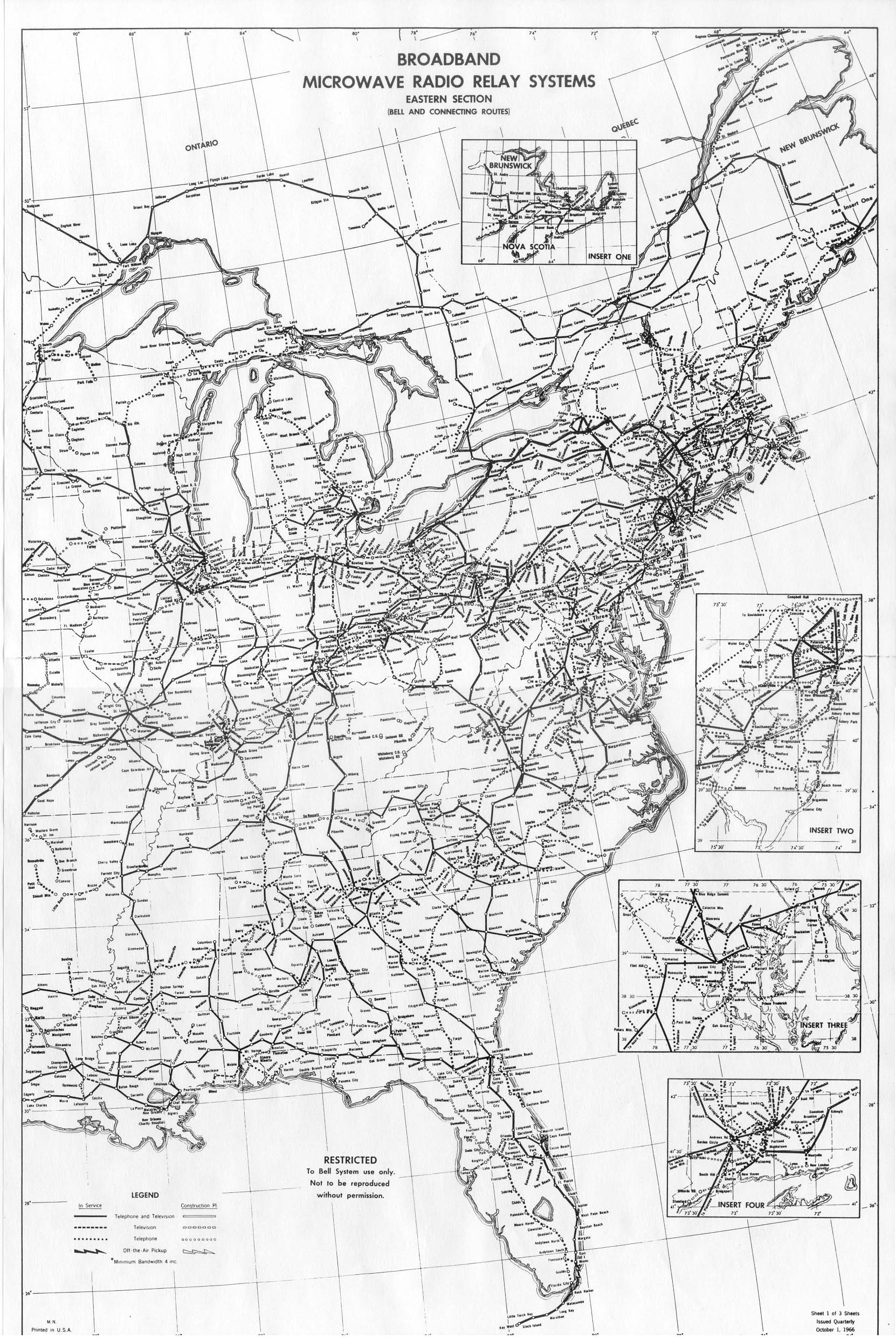 ATT Long Lines Places And Routes - Historical map of bell telephone coverage in the us